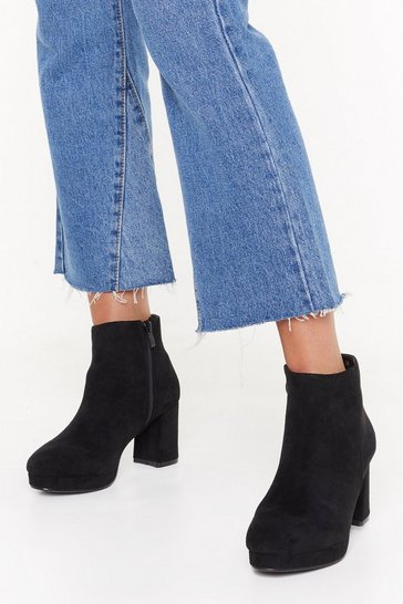 Womens Black Suede to Break Your Heart Faux Suede Boots