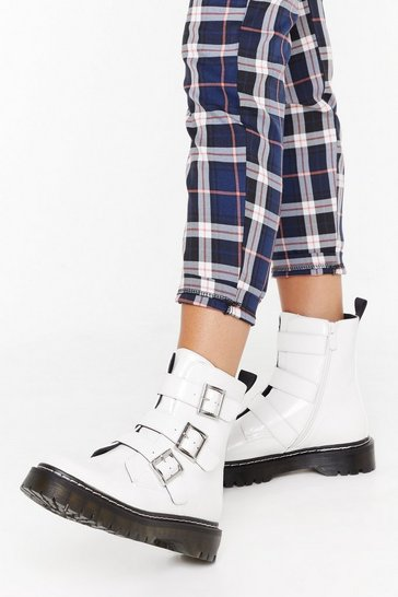 Womens White Triple buckle contrast stitch biker boot