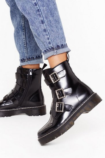 Womens Black Triple buckle cleated contrast stitch biker boot
