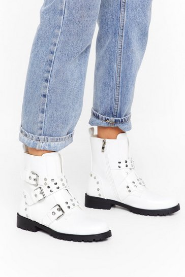 Womens White Hey Stud Lookin' Faux Leather Buckle Boots