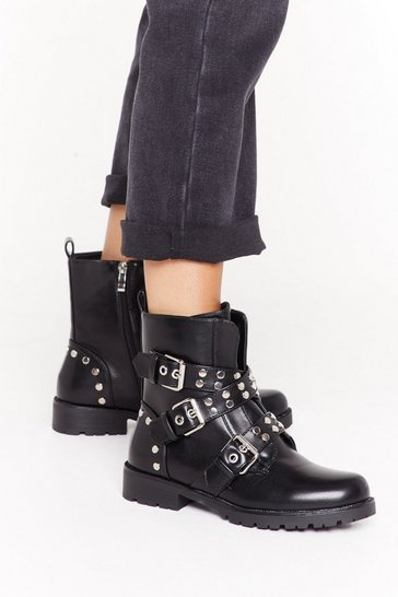Womens Black Flat stud triple buckle biker boots
