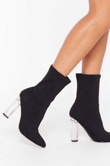 Black Knit's Not Me Clear Heel Sock Boots