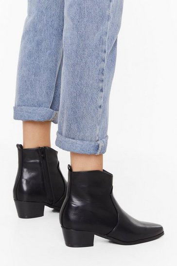 Black Walk This Way Faux Leather Boots