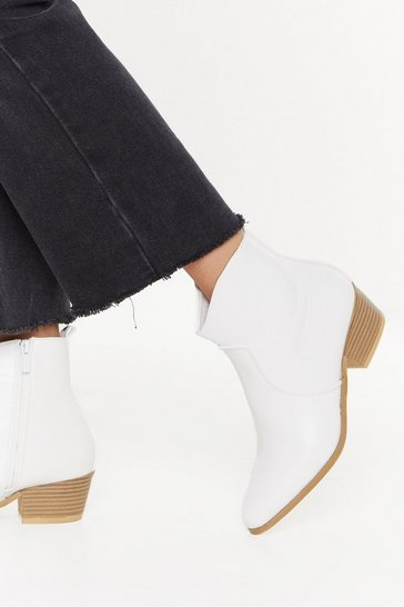 White Making a Point Faux Leather Western Boots