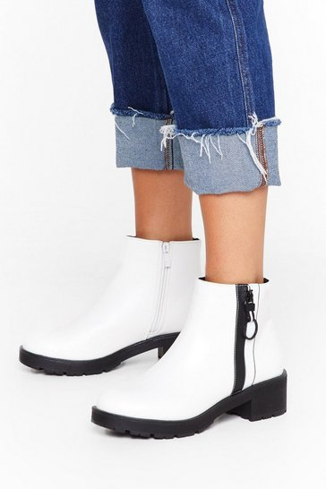 Womens White One Way Zip Faux Leather Boots