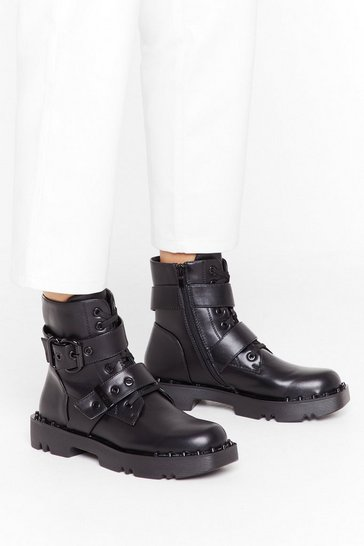 Womens Black Square sole cleated tonal stud biker