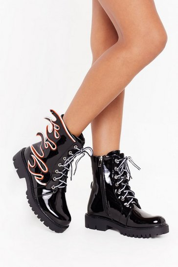 Womens Black Flame Hungry Faux Leather Lace-Up Boots