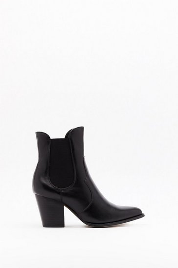 Womens Black Pointed pu chelsea western boots