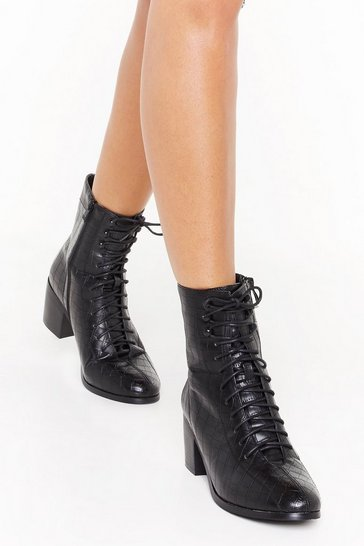 Womens Black Faux croc lace up ankle boots