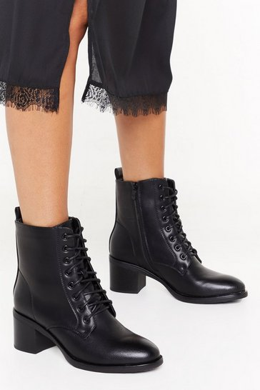 Womens Black Pu laced up victorian ankle boot