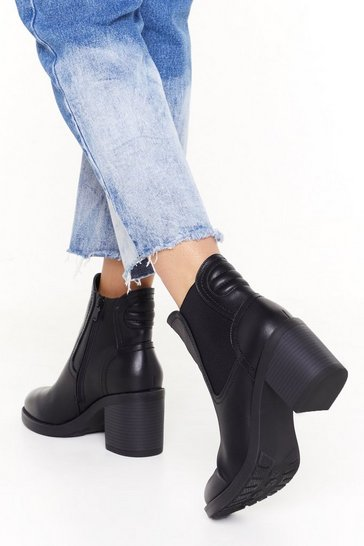 Womens Black From Where I'm Stood Faux Leather Block Heel Boots