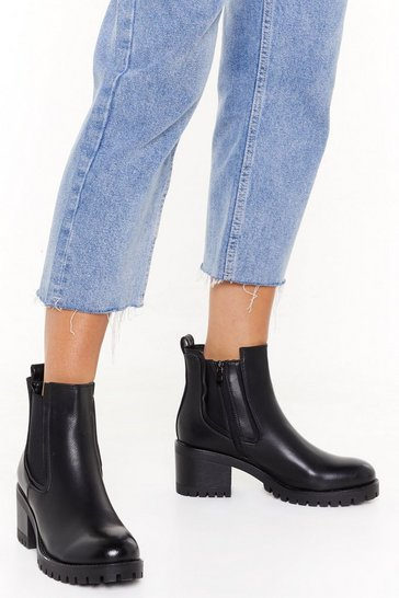 Womens Black It's About to Get Cleated Faux Leather Boots