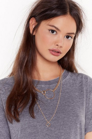 Womens Gold Double Chain Layered Necklace