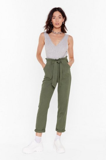 Womens Khaki Tie to Explain Denim Paperbag Pants