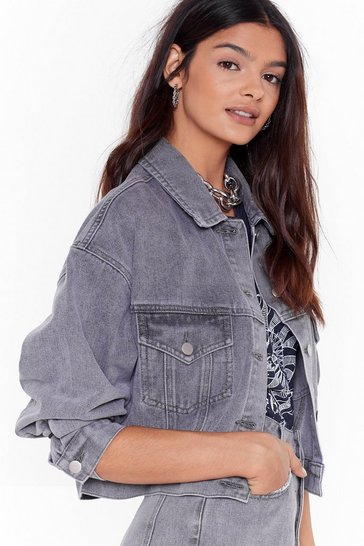 Grey Wash Happens Next Denim Cropped Jacket