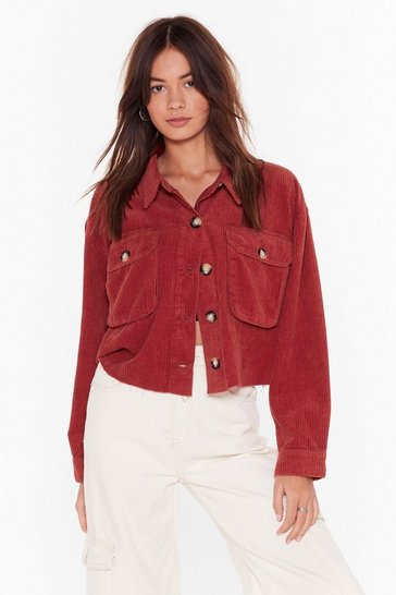 Womens Rust Cord Utility Cropped Jacket