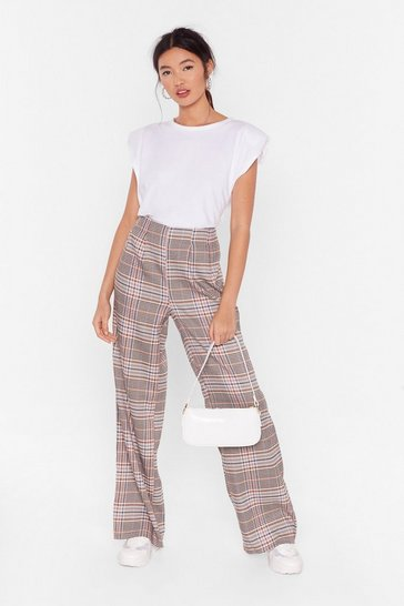 Womens Tan Check Wide Leg Suit Trousers