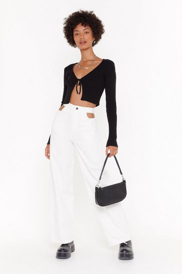 White Out of Pocket Cut-Out Wide-Leg Jeans
