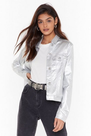 Womens Silver Flash Forward Metallic Denim Jacket
