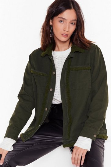 Womens Khaki Cozy Fur You Faux Shearling Denim Jacket