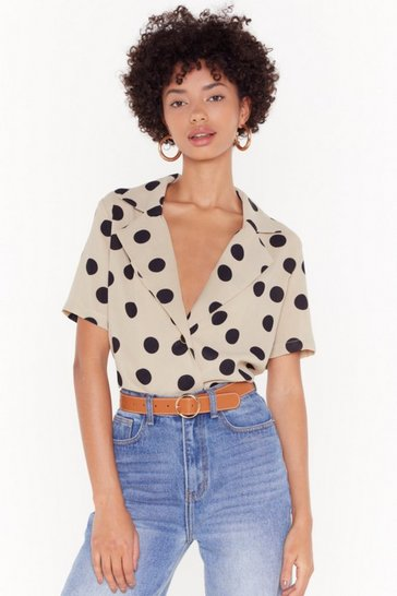 Womens Stone One More Button Hurt Polka Dot Blouse