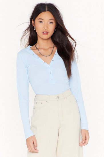 Womens Baby blue Snap It Like It's Hot Ribbed Top
