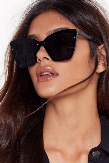 Womens Black Can't Fight This Feline Oversized Cat-Eye Sunglasses