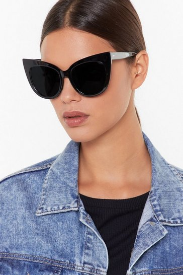 Womens Black The Purr-ty's Not Oversized Cat-Eye Sunglasses