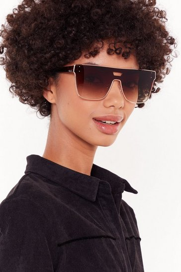 Womens Brown Tort Her Everything She Knows Oversized Square Sunglasses