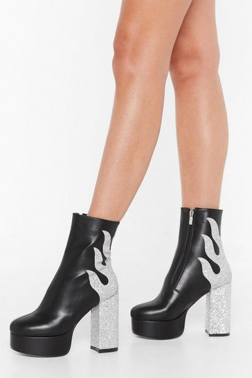 Womens Black From the Flames Platform Glitter Boots