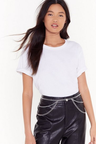Womens Silver Drop It Low Layered Chain Belt