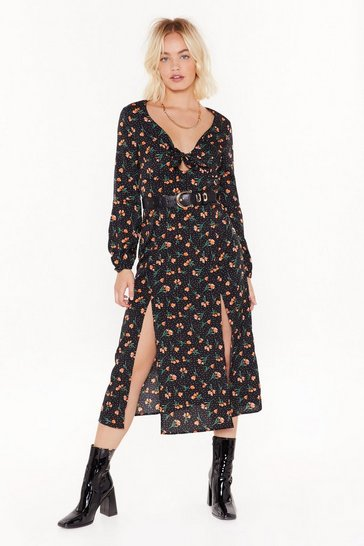 Black All the Reasons Tie Floral Midi Dress