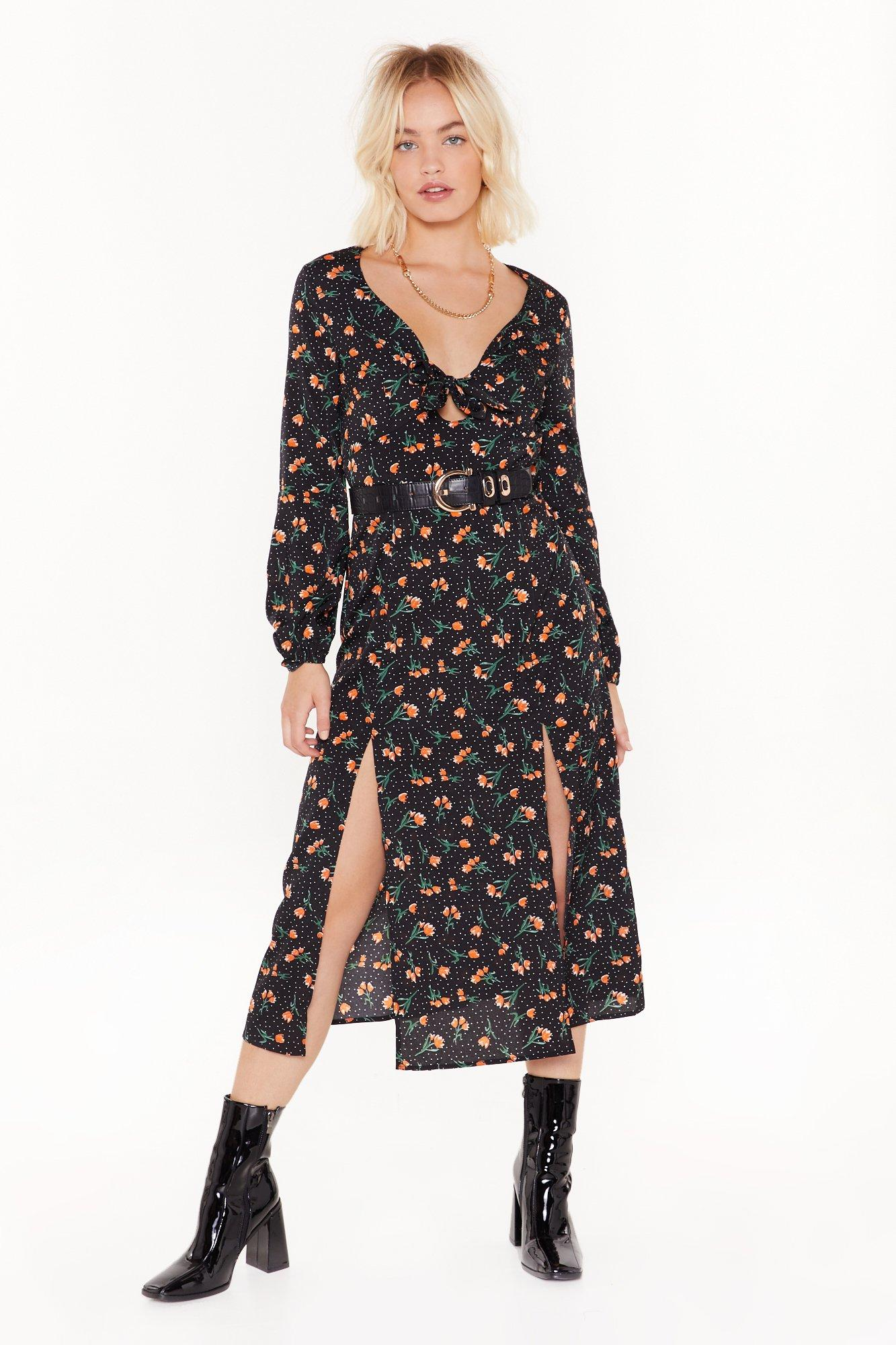 All the Reasons Tie Floral Midi Dress