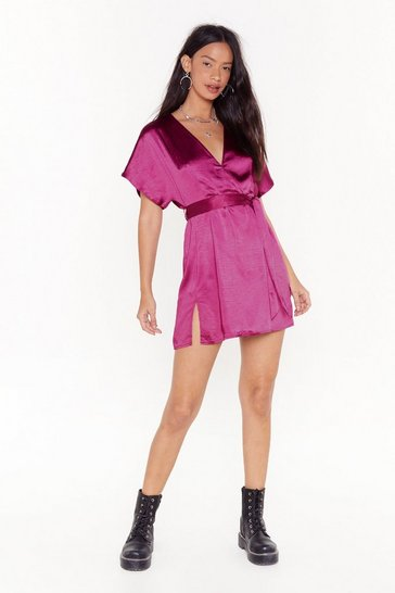 Womens Hot pink  call in slick mini dress