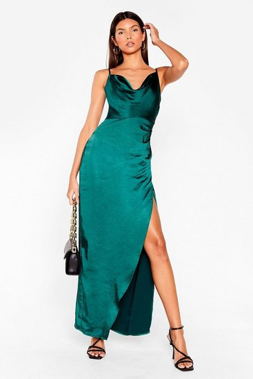 Womens Dark green Cowl on Me Satin Maxi Dress