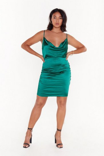 Dark green Cowl on Me Plus Satin Dress
