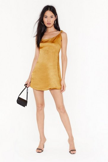 Gold Stand Tie Me Satin Mini Dress