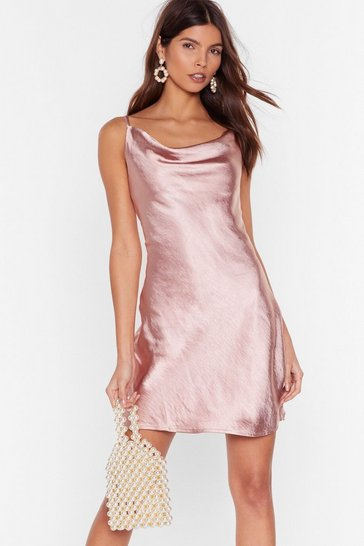 Blush Cowl Neck Satin Dress with Adjustable Straps