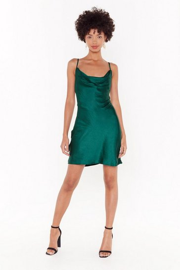 Womens Dark green Sought After Cowl Satin Dress