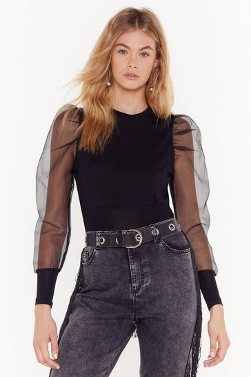 Black Cropped Knit Sweater with Organza Puff Sleeves