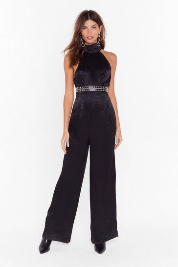 Womens Black Go High Satin Wide-Leg Jumpsuit