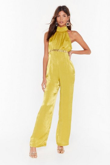 Womens Chartreuse Go High Satin Wide-Leg Jumpsuit