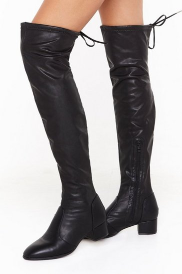 Womens Black It's Over Faux Leather Thigh High Boots