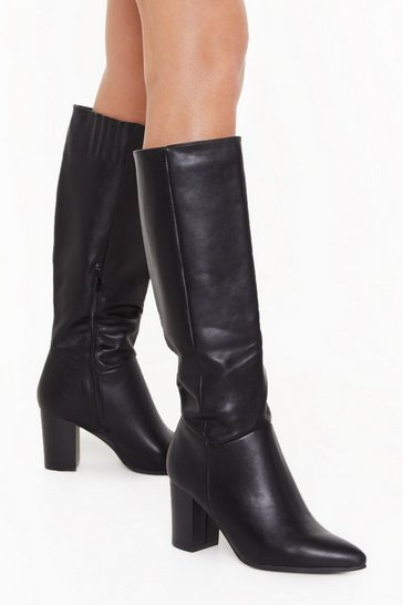 Black Stay Groovy Heeled Knee-High Boots