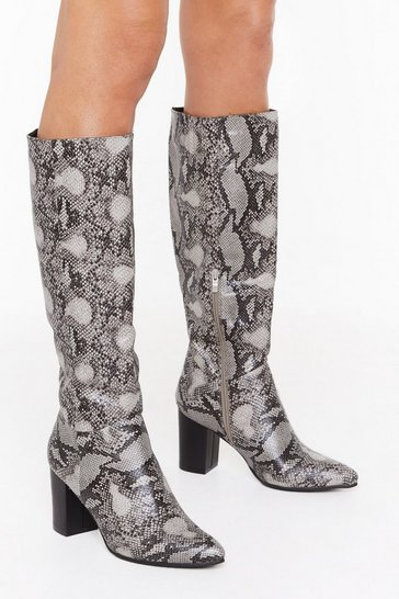 Womens Grey Snake It Count Heeled Knee-High Boots