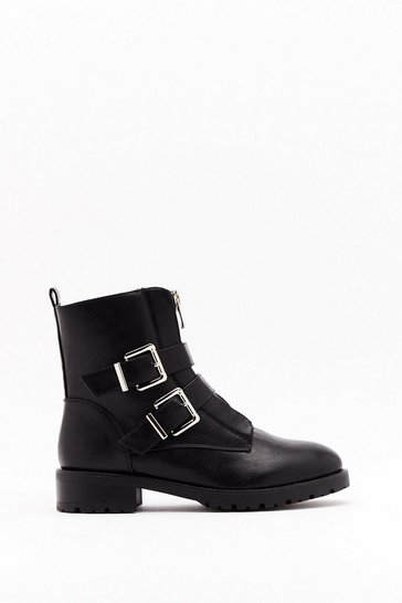 Womens Black Pu double buckle zip front biker boots