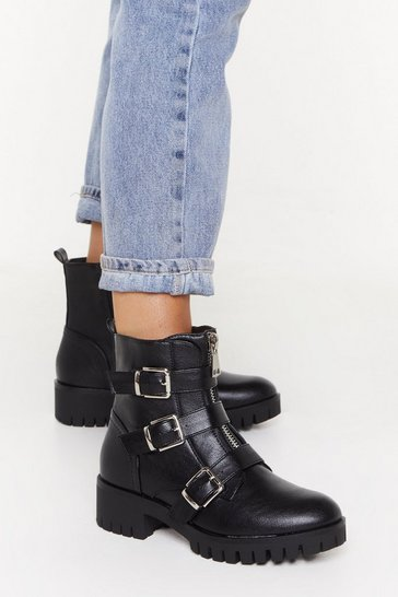Womens Black Just Don't Give a Buck-le Faux Leather Biker Boots