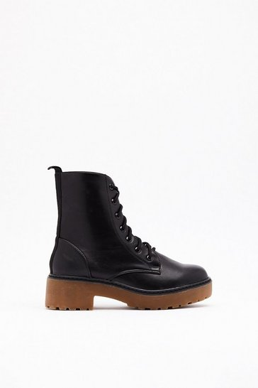 Womens Black Takin' the High Road Faux Leather Lace-Up Boots