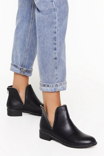 Black Time Stud Still Faux Leather Chelsea Boots