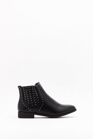 Black Stud Covered Gusset Flat Chelsea Boots